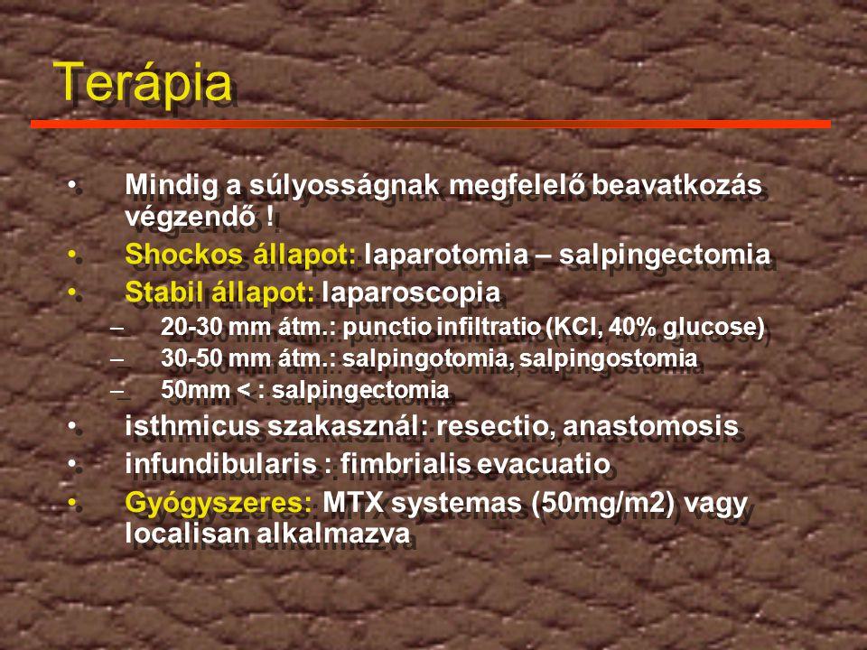 Terápia Mindig a súlyosságnak megfelelő beavatkozás végzendő ! Shockos állapot: laparotomia – salpingectomia Stabil állapot: laparoscopia –20-30 mm át