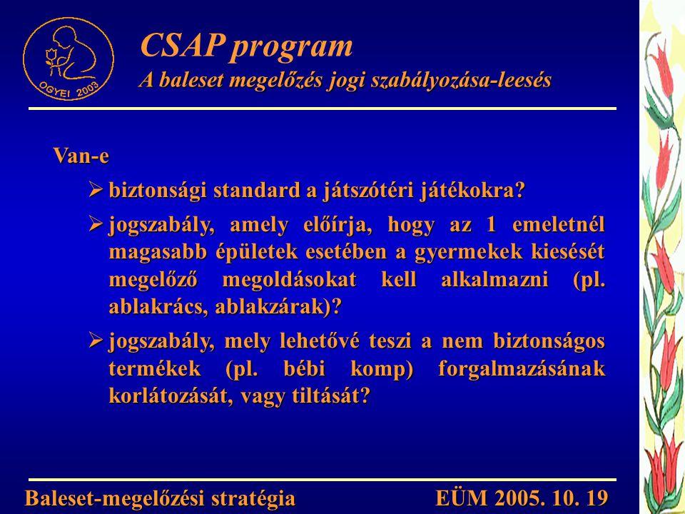 Baleset-megelőzési stratégia EÜM 2005. 10. 19 CSAP program A baleset megelőzés jogi szabályozása-leesés Van-e  biztonsági standard a játszótéri játék