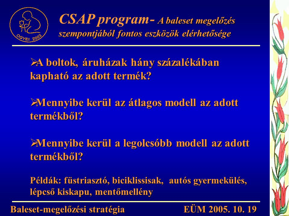 Baleset-megelőzési stratégia EÜM 2005. 10. 19 A baleset megelőzés szempontjából fontos eszközök elérhetősége CSAP program- A baleset megelőzés szempon