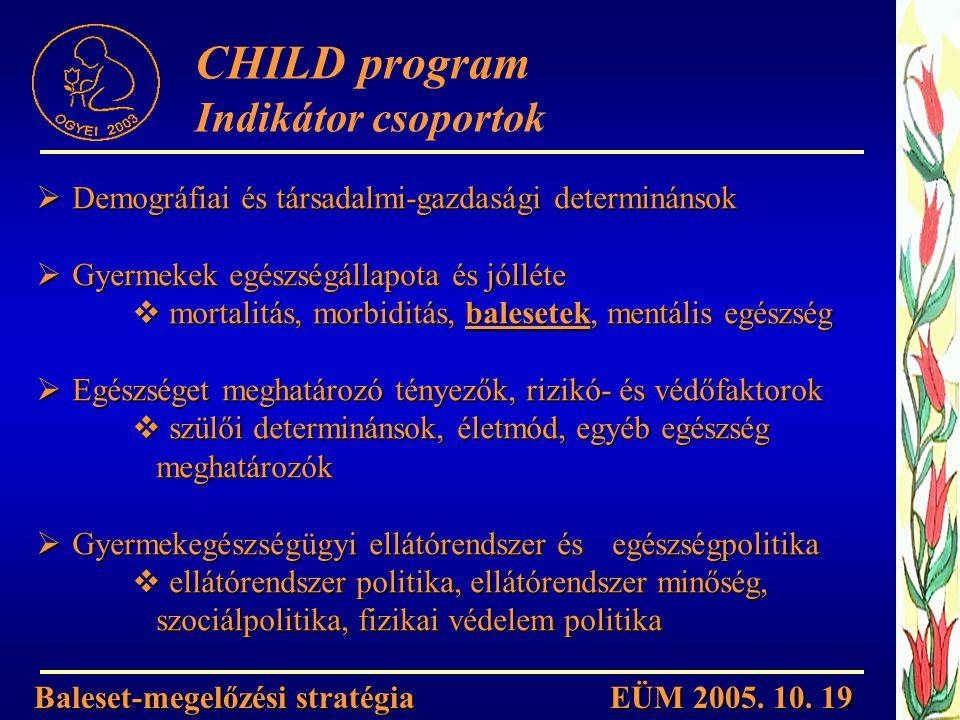 Demográfiai és társadalmi-gazdasági determinánsok  Gyermekek egészségállapota és jólléte  mortalitás, morbiditás, balesetek, mentális egészség  E