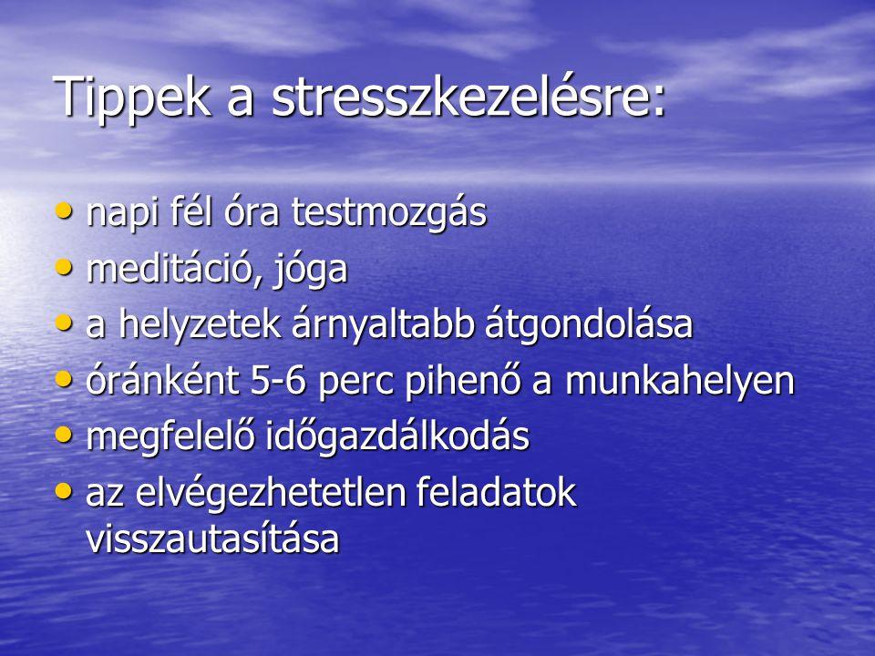 Tippek a stresszkezelésre: napi fél óra testmozgás napi fél óra testmozgás meditáció, jóga meditáció, jóga a helyzetek árnyaltabb átgondolása a helyze