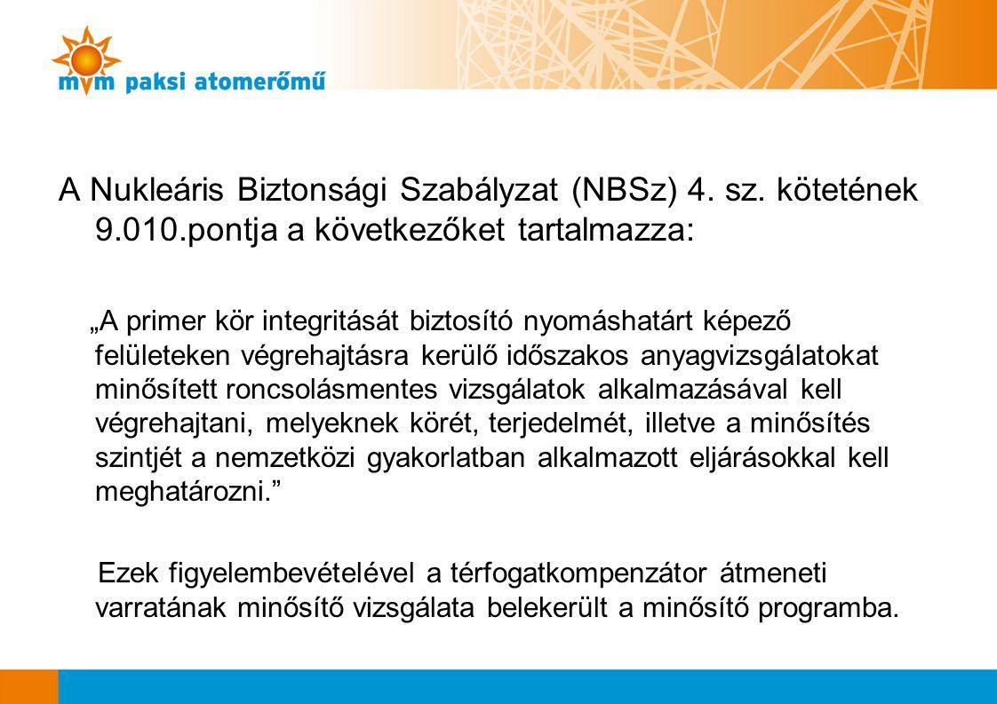 """A Nukleáris Biztonsági Szabályzat (NBSz) 4. sz. kötetének 9.010.pontja a következőket tartalmazza: """"A primer kör integritását biztosító nyomáshatárt k"""