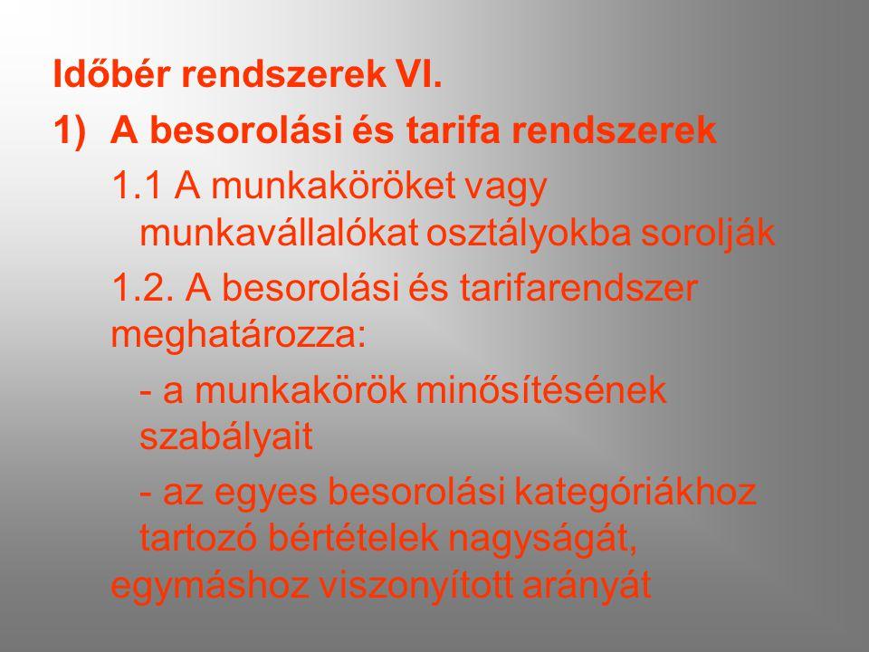 Időbér rendszerek VI. 1)A besorolási és tarifa rendszerek 1.1 A munkaköröket vagy munkavállalókat osztályokba sorolják 1.2. A besorolási és tarifarend