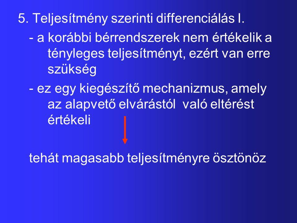 5. Teljesítmény szerinti differenciálás I. - a korábbi bérrendszerek nem értékelik a tényleges teljesítményt, ezért van erre szükség - ez egy kiegészí