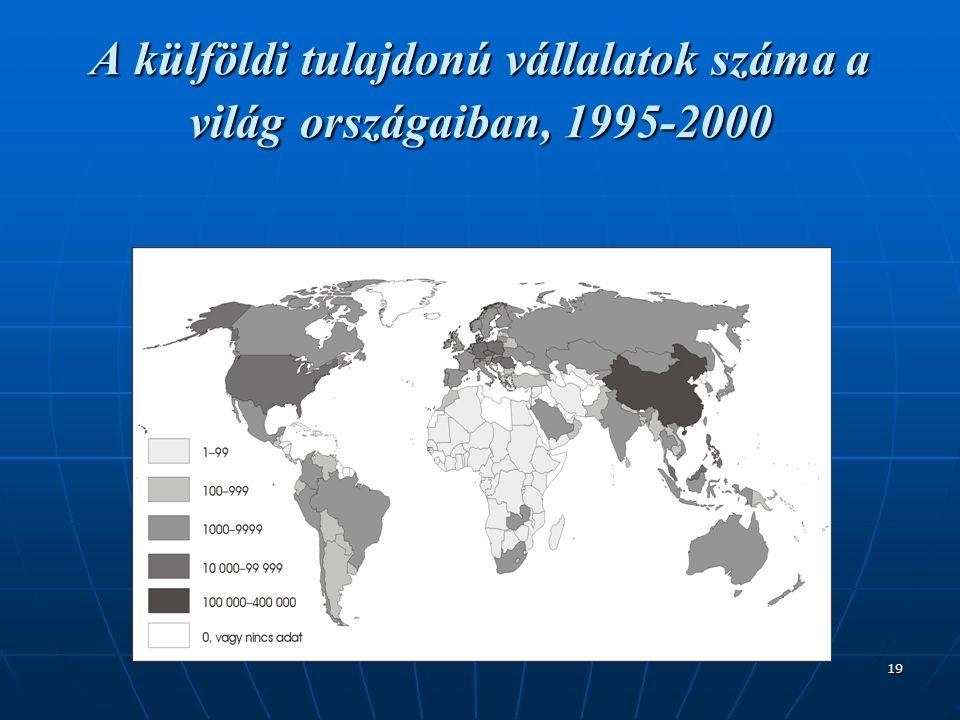 19 A külföldi tulajdonú vállalatok száma a világ országaiban, 1995-2000