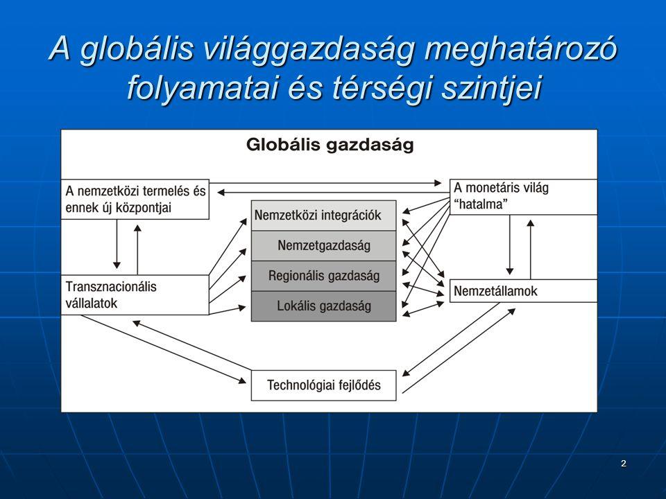 2 A globális világgazdaság meghatározó folyamatai és térségi szintjei