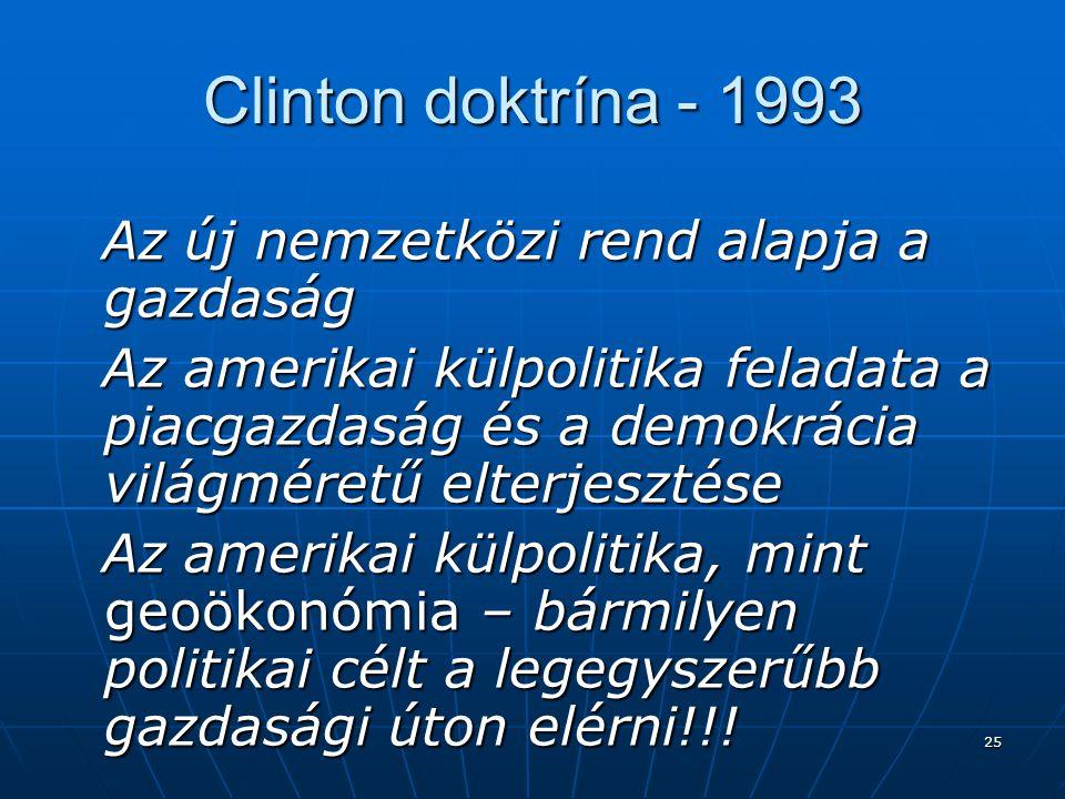 25 Clinton doktrína - 1993 Az új nemzetközi rend alapja a gazdaság Az új nemzetközi rend alapja a gazdaság Az amerikai külpolitika feladata a piacgazd