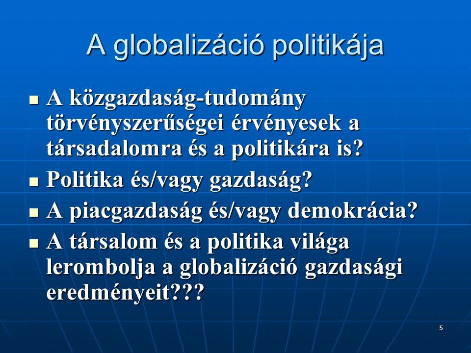 5 A globalizáció politikája A közgazdaság-tudomány törvényszerűségei érvényesek a társadalomra és a politikára is? A közgazdaság-tudomány törvényszerű