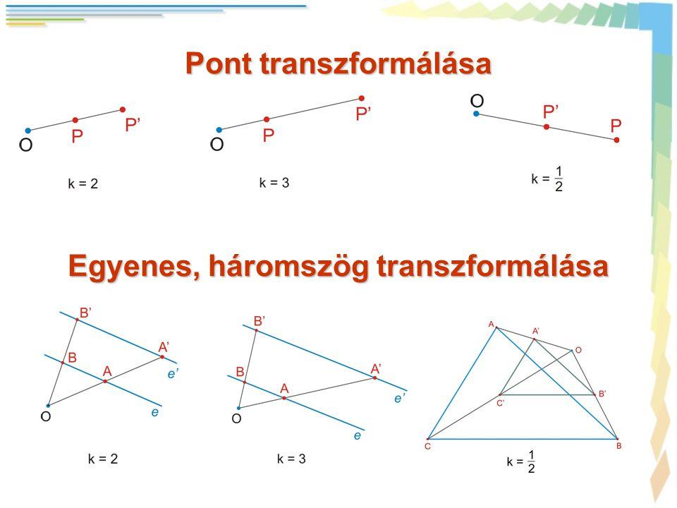Pont transzformálása Egyenes, háromszög transzformálása