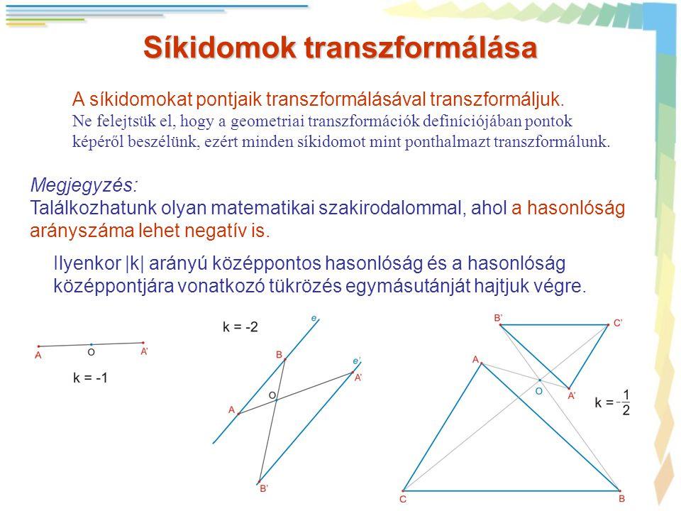 Síkidomok transzformálása A síkidomokat pontjaik transzformálásával transzformáljuk. Ne felejtsük el, hogy a geometriai transzformációk definíciójában
