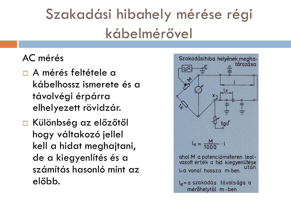Szakadási hibahely mérése régi kábelmérővel AC mérés  A mérés feltétele a kábelhossz ismerete és a távolvégi érpárra elhelyezett rövidzár.  Különbsé