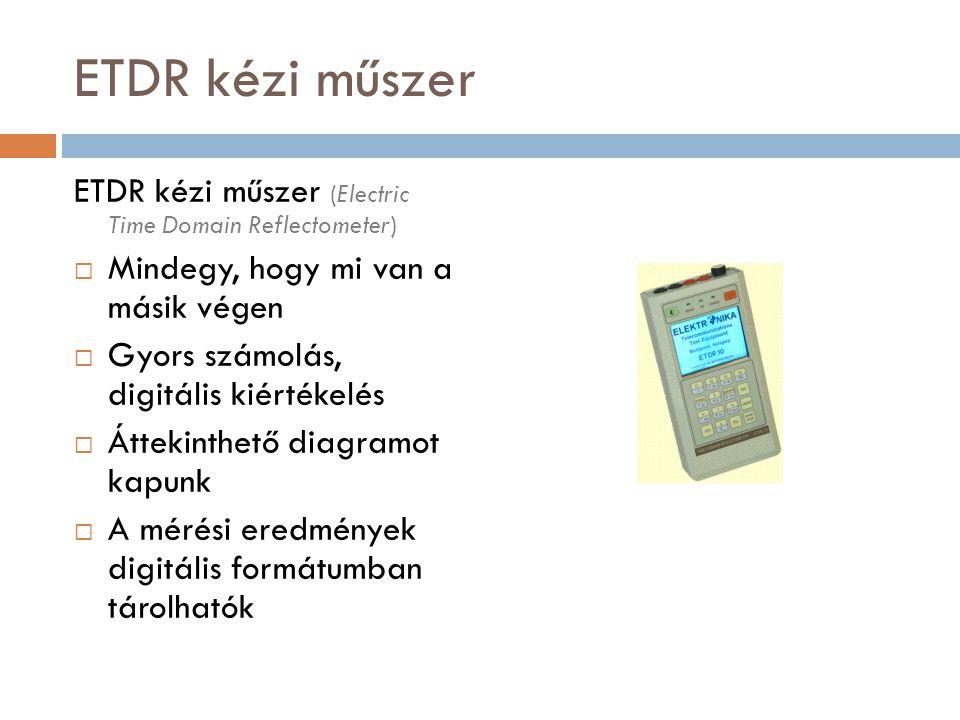 ETDR kézi műszer ETDR kézi műszer (Electric Time Domain Reflectometer)  Mindegy, hogy mi van a másik végen  Gyors számolás, digitális kiértékelés 