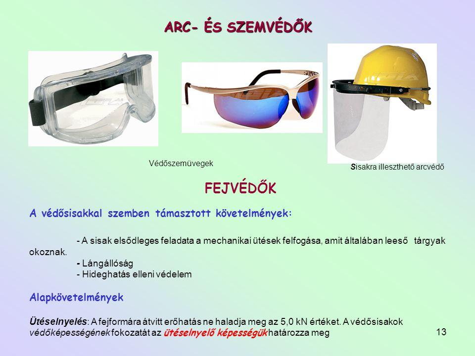 13 ARC- ÉS SZEMVÉDŐK Sisakra illeszthető arcvédő Védőszemüvegek A védősisakkal szemben támasztott követelmények: - A sisak elsődleges feladata a mecha
