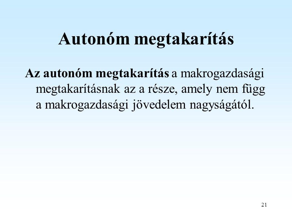 21 Autonóm megtakarítás Az autonóm megtakarítás a makrogazdasági megtakarításnak az a része, amely nem függ a makrogazdasági jövedelem nagyságától.