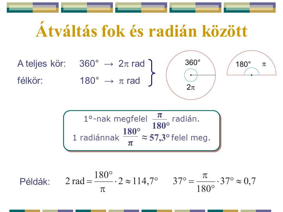 Átváltás fok és radián között 1°-nak megfelel radián. 1 radiánnak felel meg. 1°-nak megfelel radián. 1 radiánnak felel meg. π 180° π ≈ 57,3° Példák: A