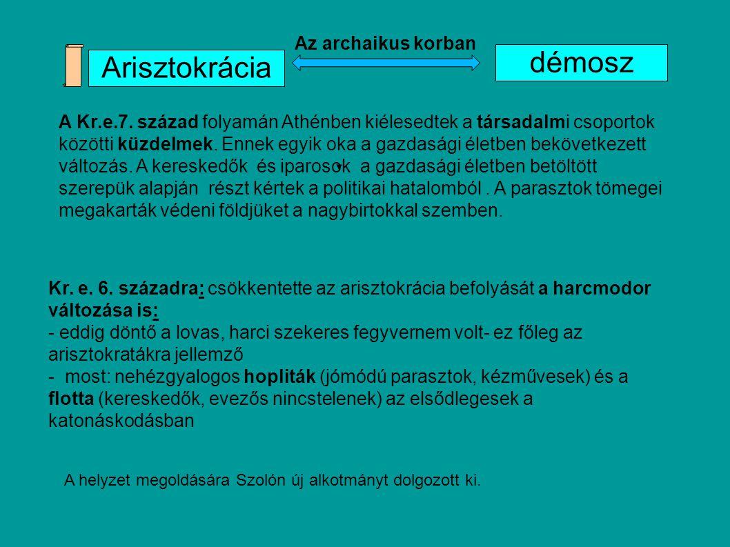 Arisztokrácia démosz Kr. e. 6. századra: csökkentette az arisztokrácia befolyását a harcmodor változása is: - eddig döntő a lovas, harci szekeres fegy