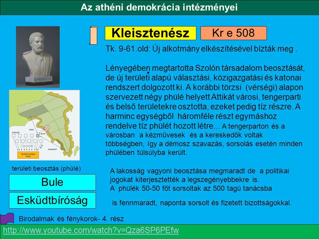 Az athéni demokrácia intézményei Kleisztenész Bule Esküdtbíróság Kr e 508 területi beosztás (phülé) Tk. 9-61.old: Új alkotmány elkészítésével bízták m