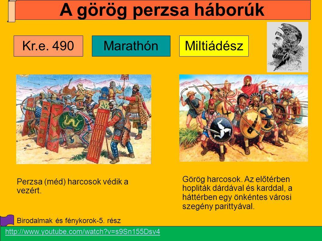 Görög harcosok. Az előtérben hopliták dárdával és karddal, a háttérben egy önkéntes városi szegény parittyával. Perzsa (méd) harcosok védik a vezért.