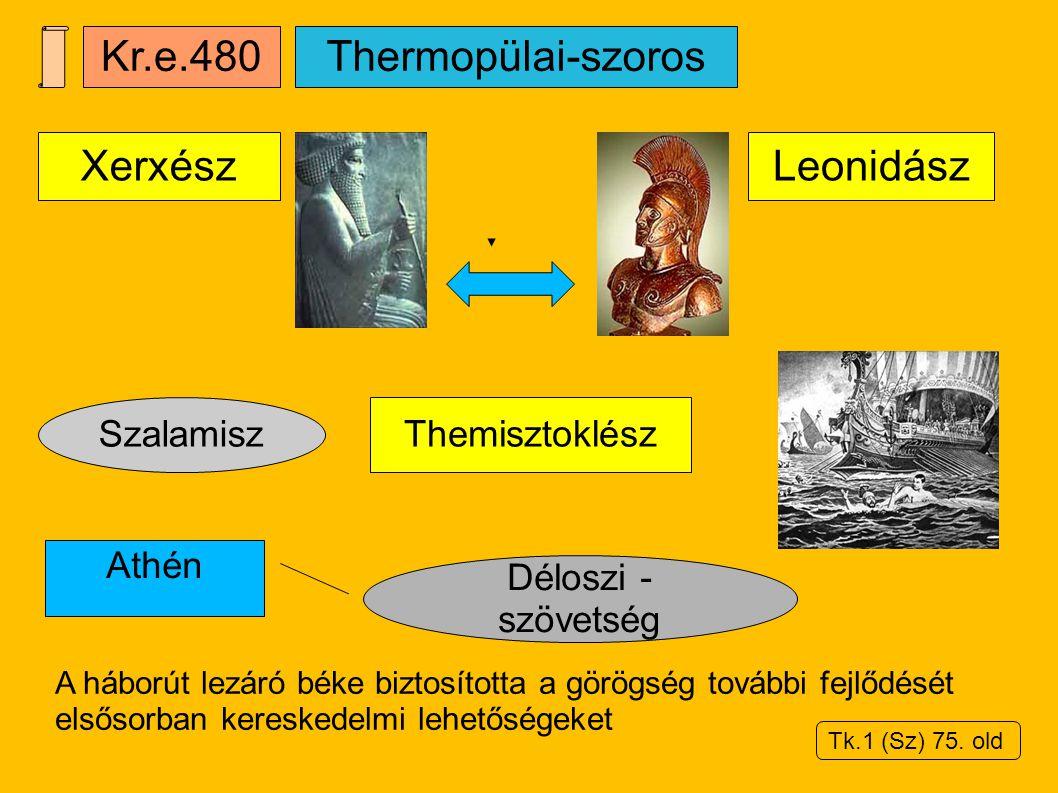Szalamisz Kr.e.480 Themisztoklész Leonidász Déloszi - szövetség A háborút lezáró béke biztosította a görögség további fejlődését elsősorban kereskedel