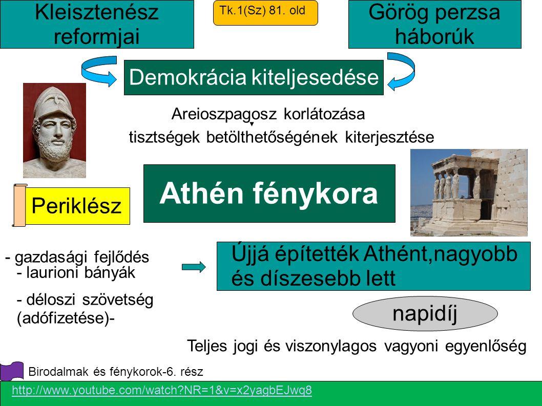 Athén fénykora napidíj Demokrácia kiteljesedése Periklész Kleisztenész reformjai Teljes jogi és viszonylagos vagyoni egyenlőség Újjá építették Athént,