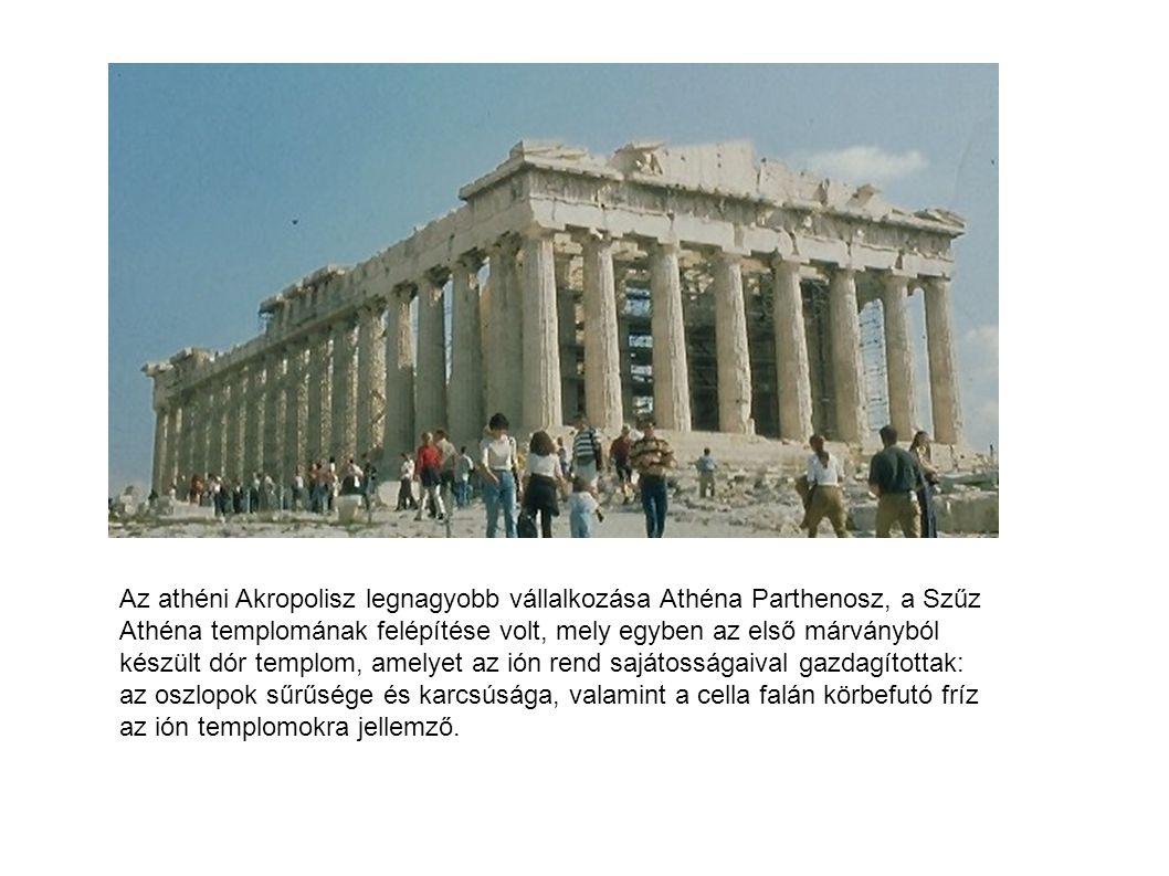 Az athéni Akropolisz legnagyobb vállalkozása Athéna Parthenosz, a Szűz Athéna templomának felépítése volt, mely egyben az első márványból készült dór