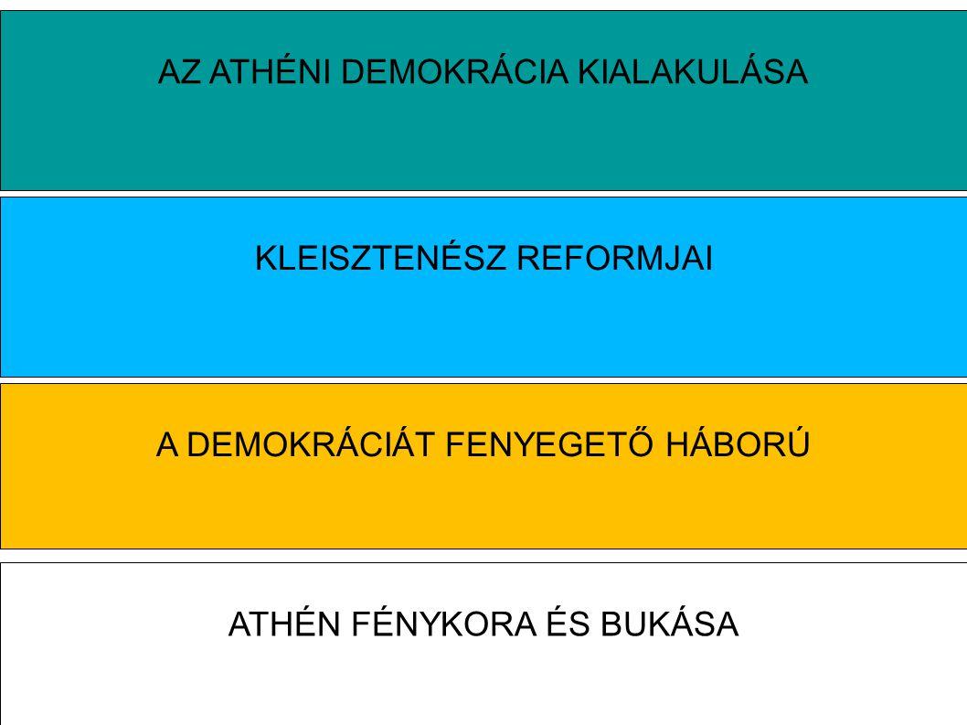 AZ ATHÉNI DEMOKRÁCIA KIALAKULÁSA KLEISZTENÉSZ REFORMJAI A DEMOKRÁCIÁT FENYEGETŐ HÁBORÚ ATHÉN FÉNYKORA ÉS BUKÁSA