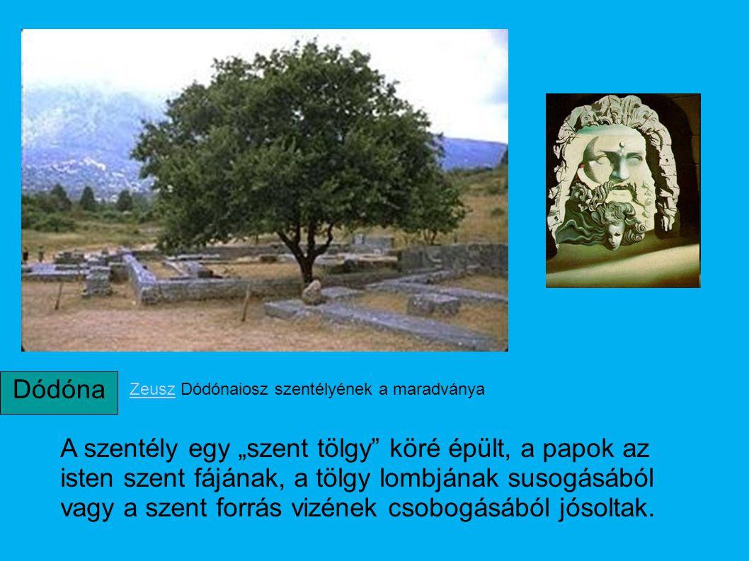 """ZeuszZeusz Dódónaiosz szentélyének a maradványa A szentély egy """"szent tölgy"""" köré épült, a papok az isten szent fájának, a tölgy lombjának susogásából"""