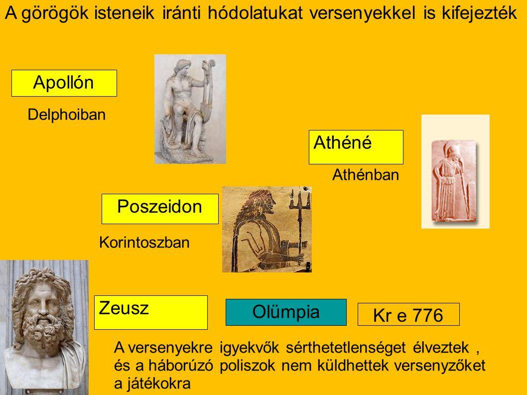 A görögök isteneik iránti hódolatukat versenyekkel is kifejezték Apollón Poszeidon Athéné Zeusz Olümpia Kr e 776 Delphoiban Athénban Korintoszban A ve