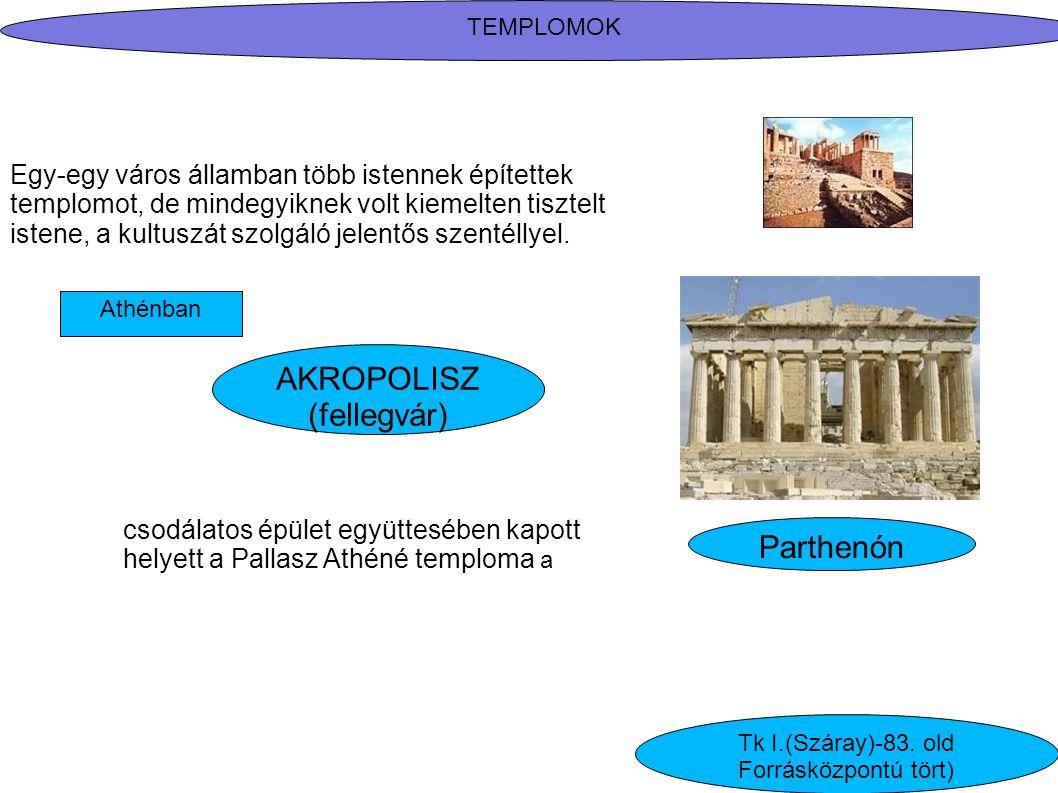 Athénban AKROPOLISZ (fellegvár) Egy-egy város államban több istennek építettek templomot, de mindegyiknek volt kiemelten tisztelt istene, a kultuszát