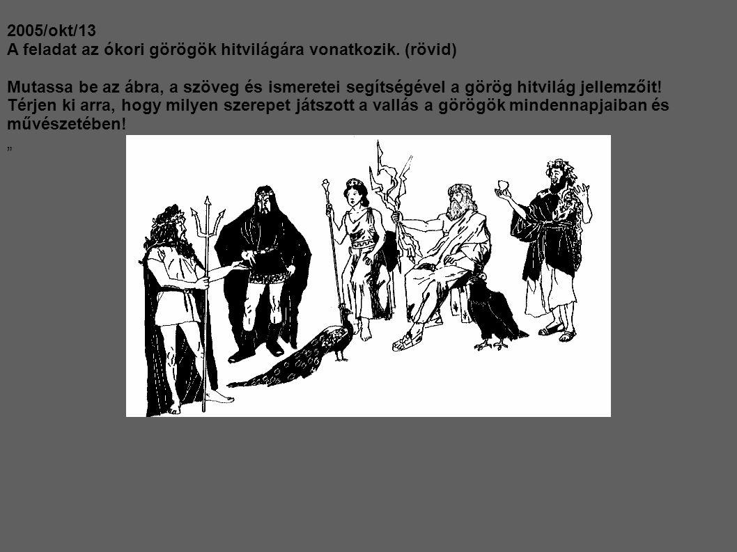 2005/okt/13 A feladat az ókori görögök hitvilágára vonatkozik. (rövid) Mutassa be az ábra, a szöveg és ismeretei segítségével a görög hitvilág jellemz