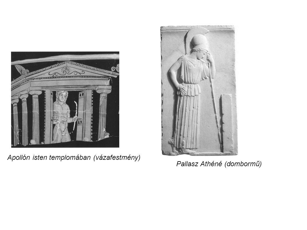 Apollón isten templomában (vázafestmény) Pallasz Athéné (dombormű)