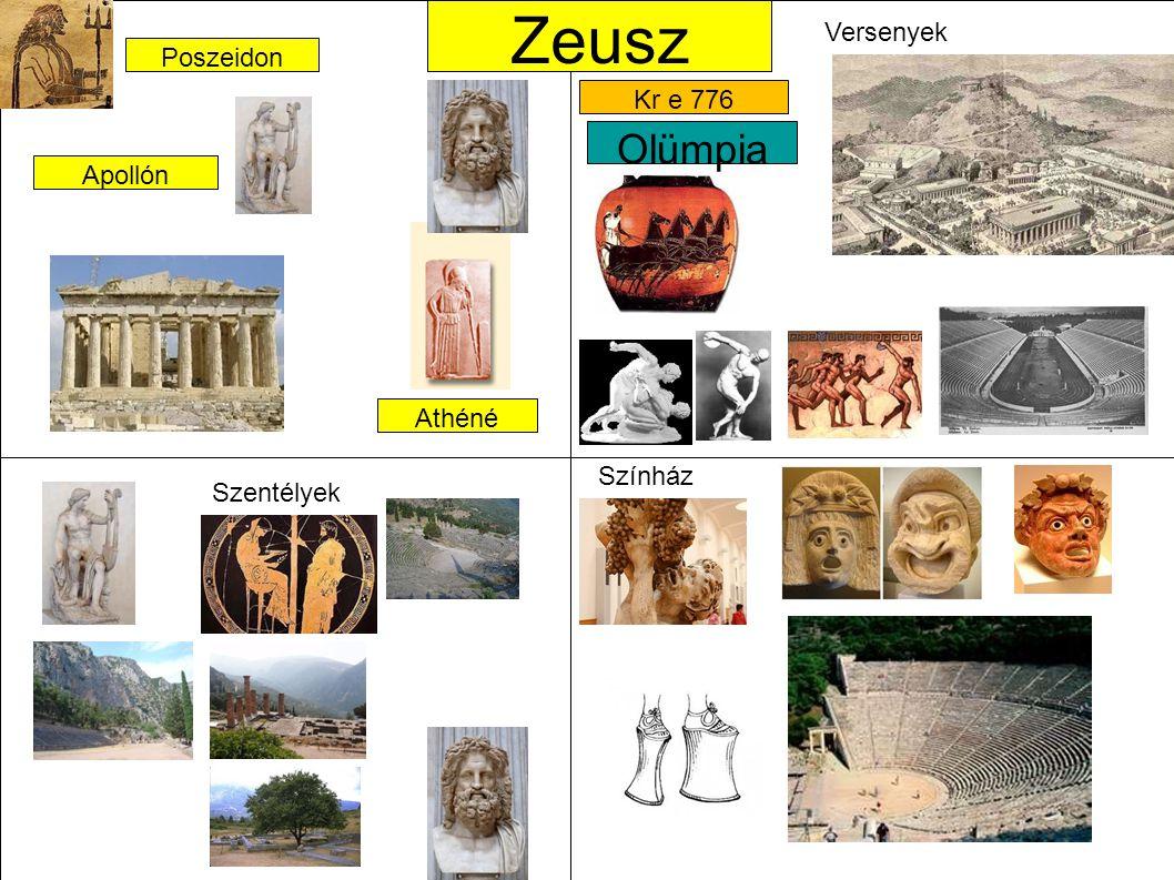 Apollón Poszeidon Athéné Zeusz Olümpia Kr e 776 Szentélyek Versenyek Színház