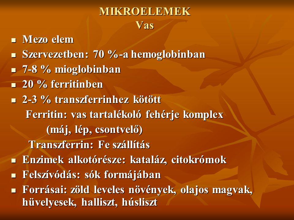 MIKROELEMEK Vas Mezo elem Mezo elem Szervezetben: 70 %-a hemoglobinban Szervezetben: 70 %-a hemoglobinban 7-8 % mioglobinban 7-8 % mioglobinban 20 % f
