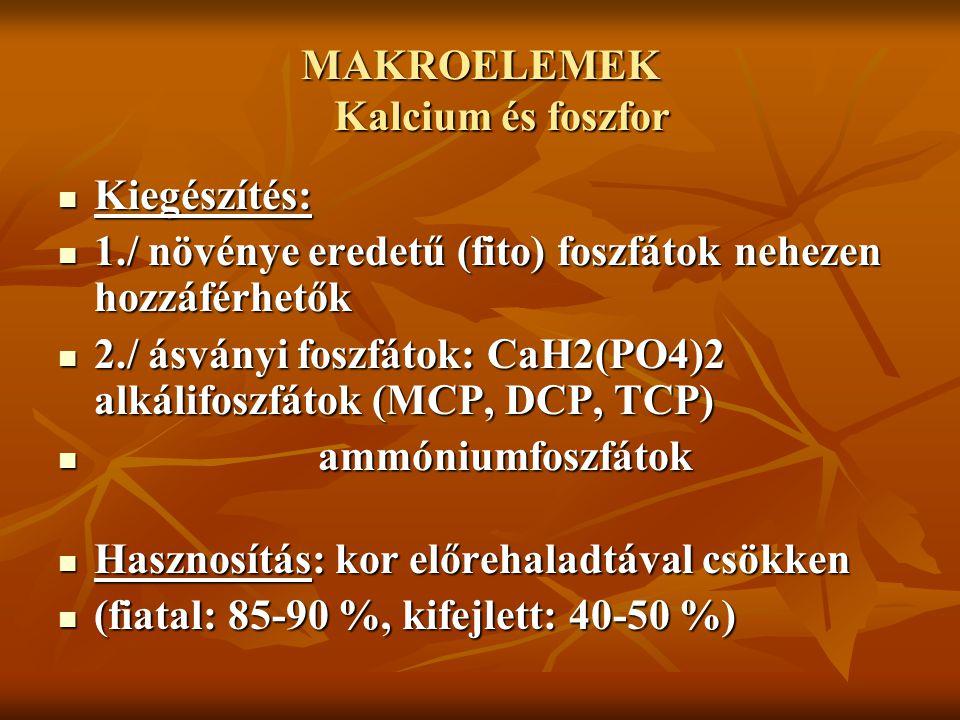 MAKROELEMEK Kalcium és foszfor Kiegészítés: Kiegészítés: 1./ növénye eredetű (fito) foszfátok nehezen hozzáférhetők 1./ növénye eredetű (fito) foszfát