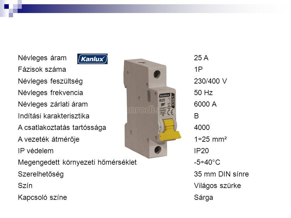 Névleges áram25 A Fázisok száma1P Névleges feszültség230/400 V Névleges frekvencia50 Hz Névleges zárlati áram6000 A Indítási karakterisztikaB A csatlakoztatás tartóssága4000 A vezeték átmérője1÷25 mm² IP védelemIP20 Megengedett környezeti hőmérséklet-5÷40°C Szerelhetőség35 mm DIN sínre SzínVilágos szürke Kapcsoló színeSárga