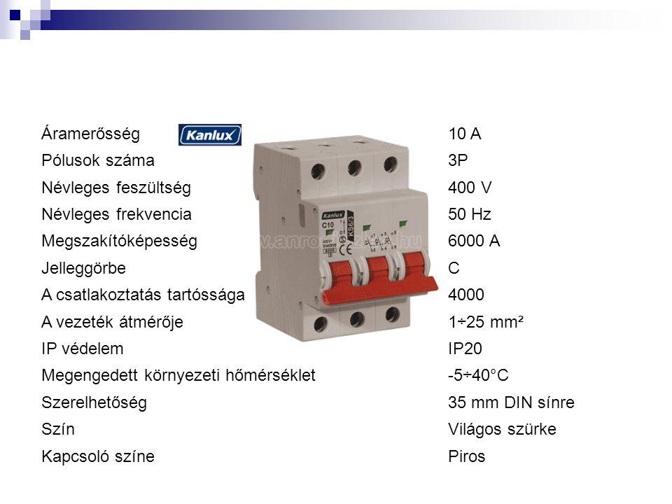 Áramerősség10 A Pólusok száma3P Névleges feszültség400 V Névleges frekvencia50 Hz Megszakítóképesség6000 A JelleggörbeC A csatlakoztatás tartóssága4000 A vezeték átmérője1÷25 mm² IP védelemIP20 Megengedett környezeti hőmérséklet-5÷40°C Szerelhetőség35 mm DIN sínre SzínVilágos szürke Kapcsoló színePiros