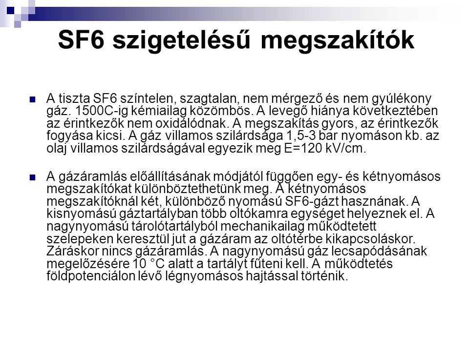 SF6 szigetelésű megszakítók A tiszta SF6 színtelen, szagtalan, nem mérgező és nem gyúlékony gáz.