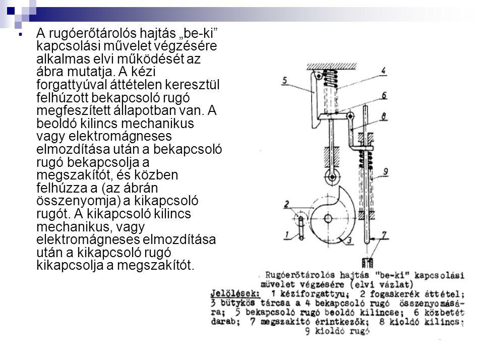 """ A rugóerőtárolós hajtás """"be-ki kapcsolási művelet végzésére alkalmas elvi működését az ábra mutatja."""
