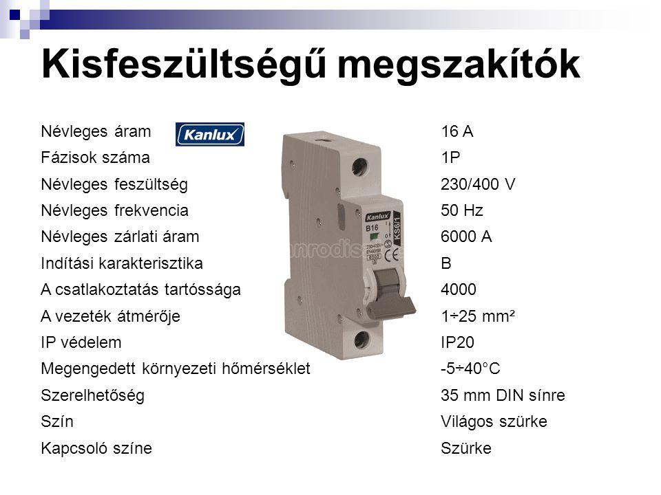 Kisfeszültségű megszakítók Névleges áram16 A Fázisok száma1P Névleges feszültség230/400 V Névleges frekvencia50 Hz Névleges zárlati áram6000 A Indítási karakterisztikaB A csatlakoztatás tartóssága4000 A vezeték átmérője1÷25 mm² IP védelemIP20 Megengedett környezeti hőmérséklet-5÷40°C Szerelhetőség35 mm DIN sínre SzínVilágos szürke Kapcsoló színeSzürke