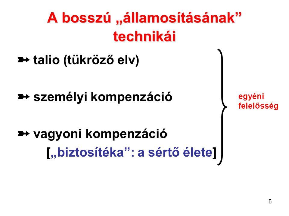 """5 A bosszú """"államosításának"""" technikái ➽ talio (tükröző elv) ➽ személyi kompenzáció ➽ vagyoni kompenzáció [""""biztosítéka"""": a sértő élete] egyéni felelő"""