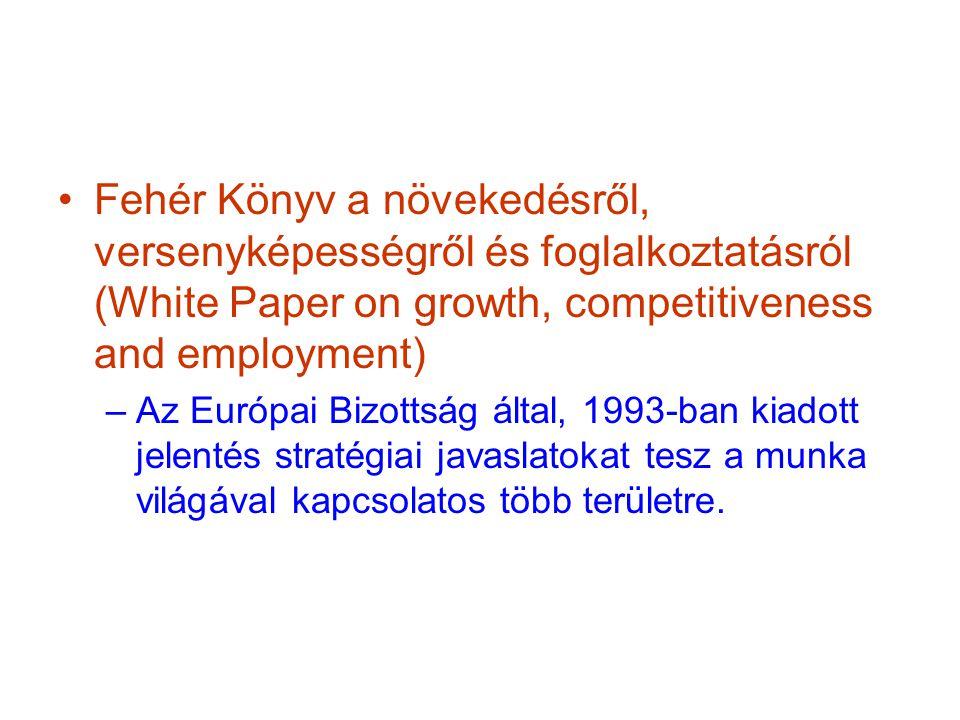 Fehér Könyv a növekedésről, versenyképességről és foglalkoztatásról (White Paper on growth, competitiveness and employment) –Az Európai Bizottság által, 1993-ban kiadott jelentés stratégiai javaslatokat tesz a munka világával kapcsolatos több területre.