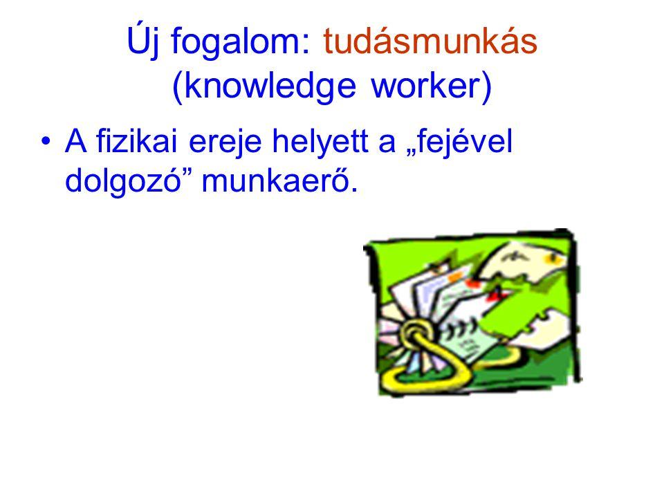 """Új fogalom: tudásmunkás (knowledge worker) A fizikai ereje helyett a """"fejével dolgozó munkaerő."""