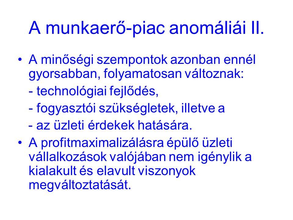 A munkaerő-piac anomáliái II.