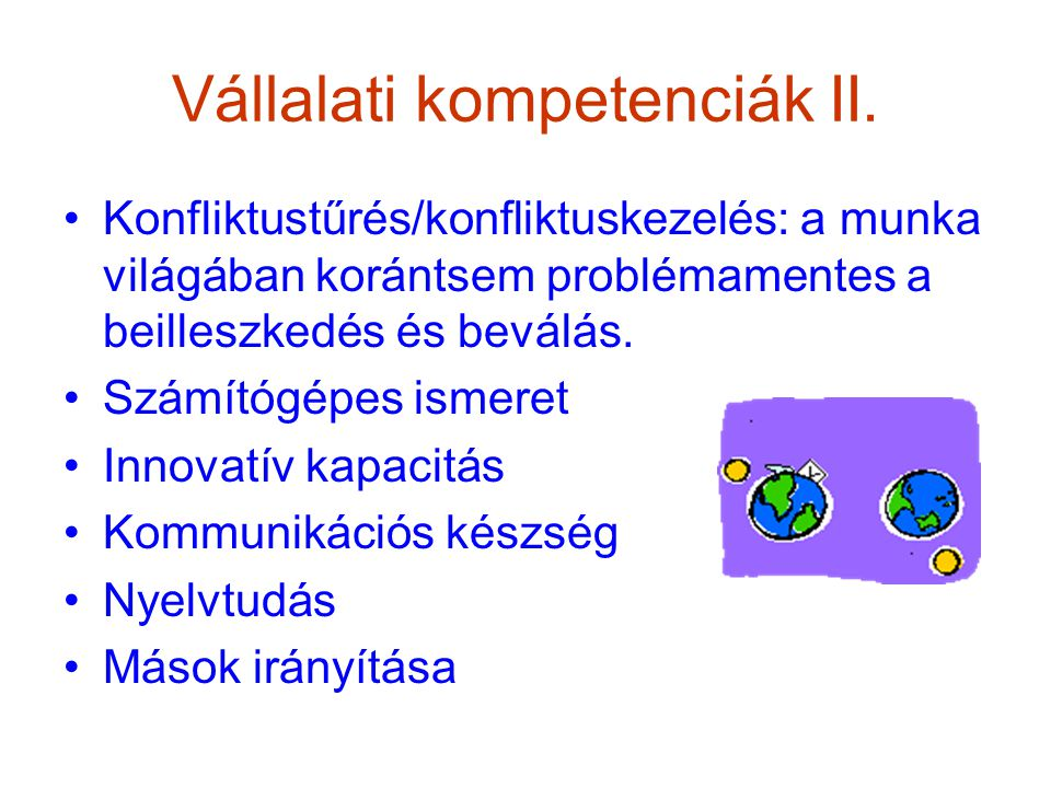 Vállalati kompetenciák II.
