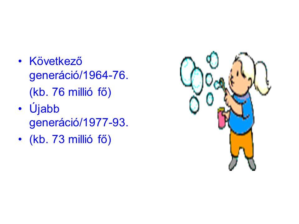 Következő generáció/1964-76. (kb. 76 millió fő) Újabb generáció/1977-93. (kb. 73 millió fő)