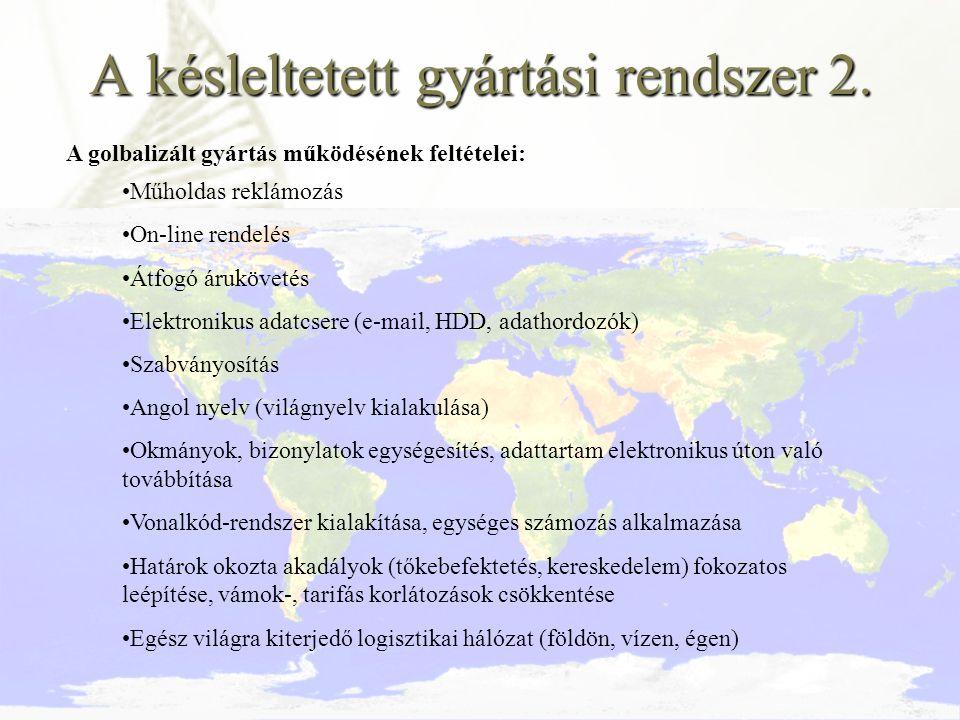 A késleltetett gyártási rendszer 2. A golbalizált gyártás működésének feltételei: Műholdas reklámozás On-line rendelés Átfogó árukövetés Elektronikus