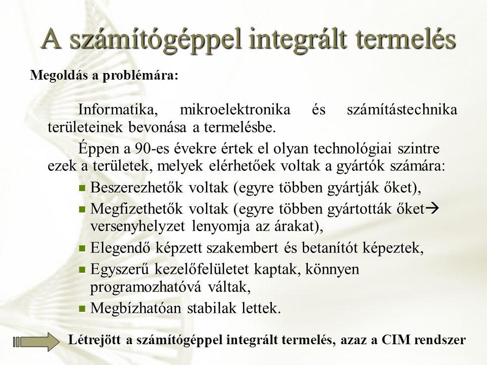 A számítógéppel integrált termelés CIM-rendszer: C omputer I ntegrat M anufacturing = számítógéppel integrált termelés A CIM magában foglalja, integrálja: Fejlesztést, Fejlesztést, Termelést, Termelést, A gyártás egész folyamatát, A gyártás egész folyamatát, Anyagáramlást, Anyagáramlást, Információáramlást, Információáramlást, Minőségbiztosítást.