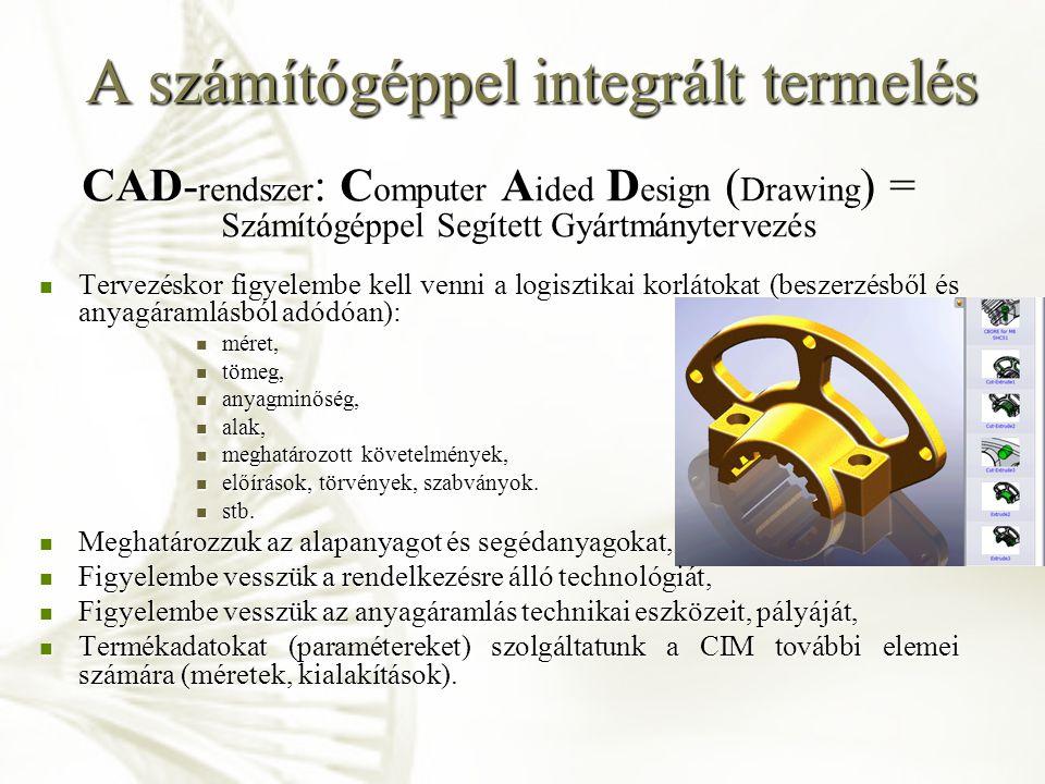 A számítógéppel integrált termelés CAD- rendszer : C omputer A ided D esign ( Drawing ) = Számítógéppel Segített Gyártmánytervezés Tervezéskor figyele