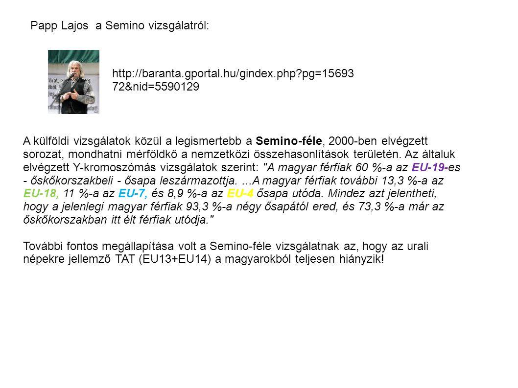 http://baranta.gportal.hu/gindex.php?pg=15693 72&nid=5590129 Papp Lajos a Semino vizsgálatról: A külföldi vizsgálatok közül a legismertebb a Semino-fé