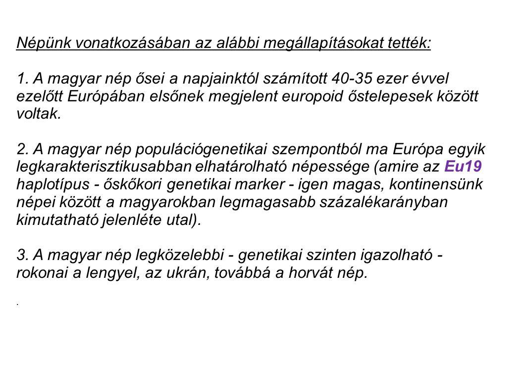 Népünk vonatkozásában az alábbi megállapításokat tették: 1. A magyar nép ősei a napjainktól számított 40-35 ezer évvel ezelőtt Európában elsőnek megje